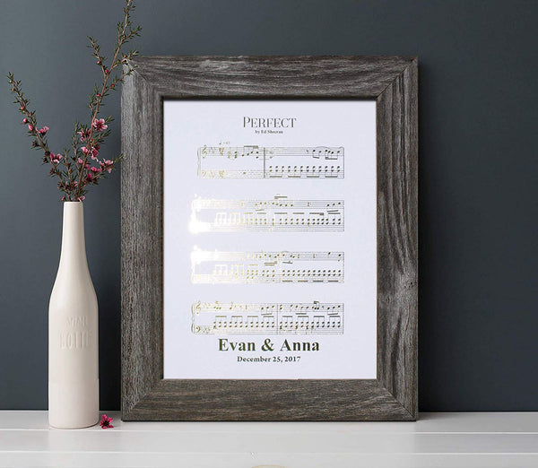 Personalized 1st Anniversary Gift for Him or Her, First Dance Song, Sheet Music