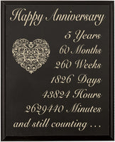 "LifeSong Milestones 5th Wedding Anniversary Wall Plaque Gifts for Couple 5 Year for Her, Fifth Wedding for Him Wall Plaque (Black, 12"" x 15"")"