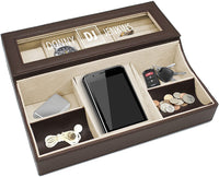 Personalized Leather Valet Tray Box - Custom Monogrammed Mens Dresser Organizer Catchall