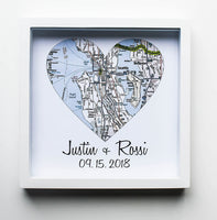 First Anniversary Gift Paper Gift Map Heart Framed Art Paper Anniversary 1 Year 1st Anniversary Gift