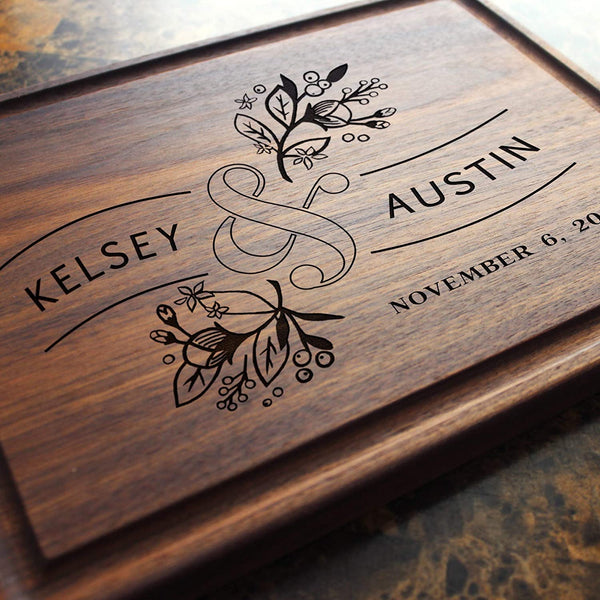 Personalized Cutting Board, Custom Keepsake, Engraved Serving Cheese Plate, Wedding, Anniversary, Engagement, Housewarming, Birthday, Corporate, Closing Gift #410