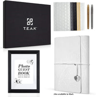 Elegant Photo Guest Book with Gift Box to Protect Your Precious Memories. Perfect for Any Occasion Including Anniversaries Birthdays [Bonus Gifts - 2 pens Photo Corners Signs & E-Book] White