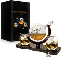 Whiskey Decanter Set World Etched Globe Decanter Antique Ship Glasses Tongs Bar Funnel Stopper Liquor Dispenser Spirits Scotch Bourbon Vodka Rum Wine Tequila Brandy Perfect Gift 850 ml