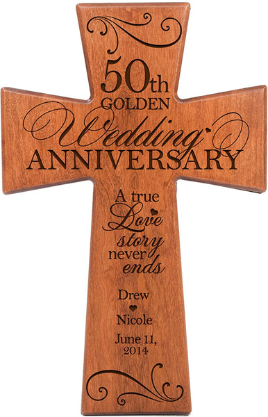 LifeSong Milestones Personalized 50th Wedding for Couple Cherry Wall Cross Gifts for Her 50 Year Ideas for Him Custom A True Love Story Never Ends (7x11)