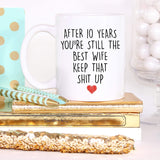 YouNique Designs 10 Year Anniversary Coffee Mug for Her, 11 Ounces, 10th Wedding Anniversary Cup For Wife, Ten Years, Tenth Year, 10th Year