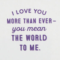 Hallmark Love Card, You Mean the World to Me (Romantic Anniversary Card, Birthday Card, Sweetest Day Card)