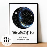 Custom Personalized Star Constellation Map WITH MILKY WAY, Star Chart, Engagement Birthday Baby Wedding Anniversary Present, Night Sky Poster