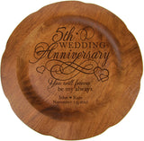 "LifeSong Milestones Personalized 5th Wedding Anniversary Plate Gift for Couple Fifth Year Gift Ideas for Her him Happy 5 Year 12"" Custom for Husband or Wife USA Made (5th Year with Special Dates)"
