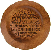 "LifeSong Milestones Personalized 20th Wedding Anniversary Plate Gift for Her, Happy 20 Year Anniversary for Him, 12"" D Custom Engraved for Husband or Wife USA Made (20th Year with Scrolls)"