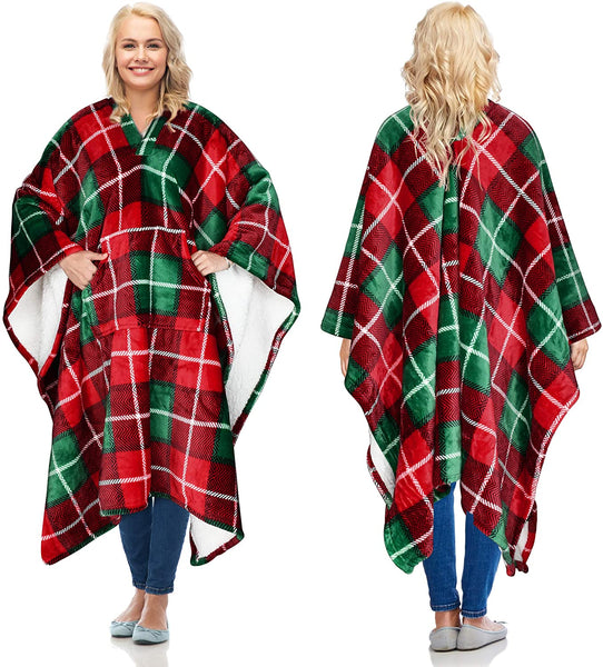 Catalonia Sherpa Wearable Blanket Poncho for Adult Women Men,Wrap Blanket Cape with Pocket,Warm,Soft,Cozy,Snuggly,Comfort Gift,No Sleeves,Plaid Buffalo Christmas