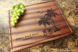 Palm and Beach Personalized Engraved Cutting Board - Wedding, Anniversary, Housewarming, Birthday Gift. #409