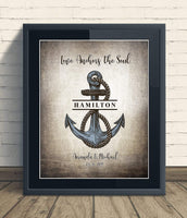 Custom Love Anchors The Soul Unframed Print Wedding Anniversary Gift, Personalized Keepsake Artwork includes Couples, Family Names and Established Date, Gift for the Newlyweds and Bridal Shower