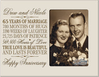 "LifeSong Milestones Personalized 65th Year Wedding for Couple Custom Engraved 65th Wedding Frame Holds 1 4x6 Photo 8"" H X 10"" W (Ivory)"