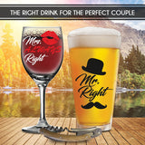 Mr. Right and Mrs. Always Right Glasses -with FREE Bottle Opener - Funny Wedding Gifts - For Engagement, Couples, Anniversary, Birthday, Newlyweds, Novelty and Bridal Shower - with Prestigious Package