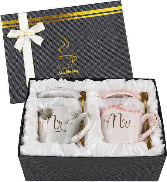 Mr. and Mrs. Couple Coffee Mugs (12 oz.) – Engagement, Wedding, Bridal Shower Gifts for Bride & Groom - Dishwasher Safe - Anniversary Husband Wife Coffee Cups for Him & Her by Homeries