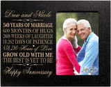 "LifeSong Milestones Personalized 50th Year Wedding for Couple Custom Engraved Wedding Frame Holds 1 4x6 Photo 8"" H X 10"" W (Ivory)"