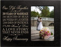 "LifeSong Milestones Twenty Year for her him Couple Custom Engraved 20th Year Wedding Anniversary Celebration Gift Frame Holds 4x6 Photo Frame Size 10"" w x 8"" h x 1/2"" (Black)"