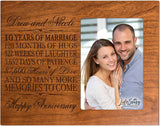 Personalized Ten Year her him Couple Custom Engraved 10th Year Wedding Celebration for Husband Wife Girlfriend Boyfriend Frame Holds 4x6 Photo by LifeSong Milestones (Black)