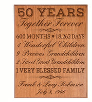 "LifeSong Milestones Personalized 50th for him her Couple Parents, Custom Made 50 Year Ideas Wall Plaque 12"" x 15"" (Cherry Veneer Wood)"