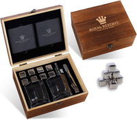 Whiskey Stones Gift Set by Royal Reserve | Mens Birthday Gifts Artisan Crafted Metal Stainless Chilling Rocks Scotch Bourbon Glasses – Gift for Men Husband Dad Boyfriend Anniversary or Retirement