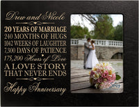 "LifeSong Milestones Personalized Twenty Year for her him Couple Custom Engraved 20th Year Wedding Anniversary Celebration Gift Frame Holds 4x6 Photo Frame Size 10"" w x 8"" h x 1/2"" (Ivory)"