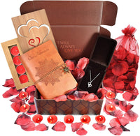 Anniversary Gifts For Her- INCLUDES: Sterling Silver Necklace, Leather Journal, Rose Petals, Romantic Candles & Bamboo Love Card