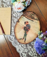 Photo Basswood Tree Slice Personalized with Your Picture Printed on Wood Slab - Rustic Wedding, New Baby, Birthday, Family, Anniversary Gift, Pet