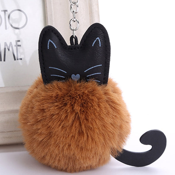 Cartoon Cat Dog Plush Doll Kids Toy PU Fur Ball Key Chain Pendant Girl Bag Phone Ornaments Decor Party Favors Birthday Xmas Gift