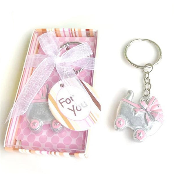 10PCS/LOT  Pink/Blue Baby Carriage Design Key Chains Birth Christening Gift Keychain Favor Baby Shower Favors Souvenir