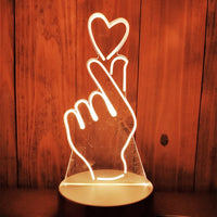 Gift for girlfriend boyfriend 3D Hologram Lamp USB Acrylic Lights party favor anniversary present Valentines day gift