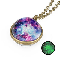Necklace Glow in the Dark Galaxy System Double Sided Glass Dome Planet Necklace Pendant for love gift