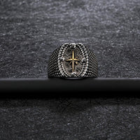 Stainless Steel Vintage Gold Cross Ring Men's Fashion Jewerly Gift For Him