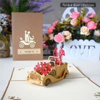 10 Pack 3D Wedding Car Pop UP Cards Wedding Invitations Anniversary Gift Card for Her Wife Greeting Cards with Envelope
