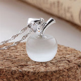 New Cute Opal Apple Shape Couples Pendant 925 Silver Clavicle Chain Necklace Gifts (45cm box chain)