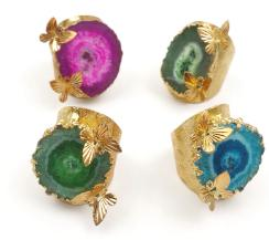 WT-R324 Bohomia Style Colorful Natural Stalactite Quartz Rings With Double Full Gold Butterfly Charm Vintage Design Gift For Her