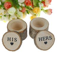 "1Pair New Arrival Wood Craft Wedding Ring Box ""His & Hers"" Rustic Decor Valentine's Day Anniversary Monuments Wedding Decor"