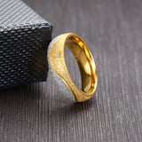 Unique Women Men CZ Stone Wedding Bands Rings for His Her Gold Color Stainless Steel Love Promise Anniversary Gifts