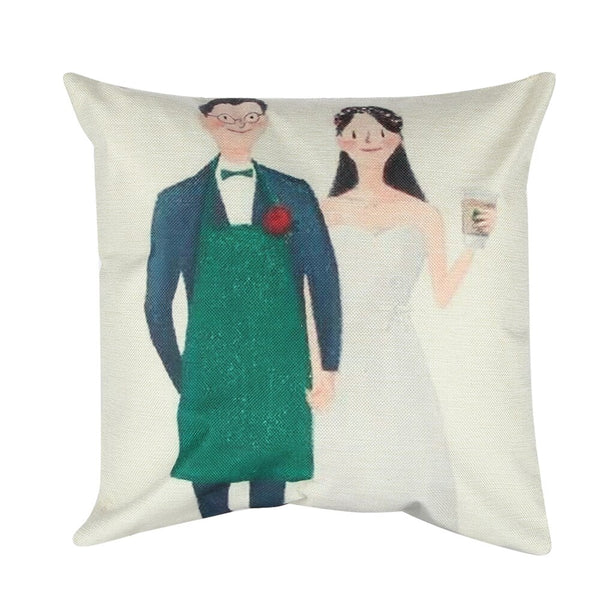 Newlyweds Pattern Pillowcases Romantic Pillow Case cover for Him or Her Romantic Anniversary Wedding Valentine's Gift