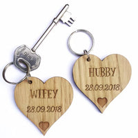 Personalised Anniversary Gift Wood Keyring, Wedding gift, husband gift, Wife gift, hubby, wifey, his & hers, gift for husband