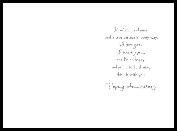 015-GC 'For My Husband' Anniversary Greeting Card 'Silver Accent' Hallmark