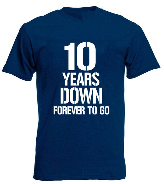 10 Years Down T-Shirt 10th Wedding Anniversary Gifts Present For Husband him men