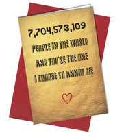 #848 Husband Wife Partner Valentines Anniversary Birthday Christmas Rude Card
