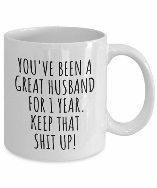 1 Year Anniversary Husband Mug Funny Gift for 1st Wedding Relationship Couple