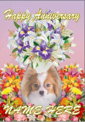 Papillion Dog Anniversary Personalised Greeting Card Dad Mum Mummy codeFV187