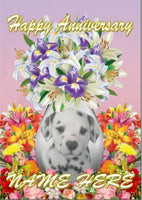 Dalmation Puppy Dog Anniversary Personalised Greeting Card codeFV158