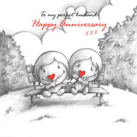 """To My Perfect Husband Happy Anniversary"" Card Cupids couple red heart lollipops"