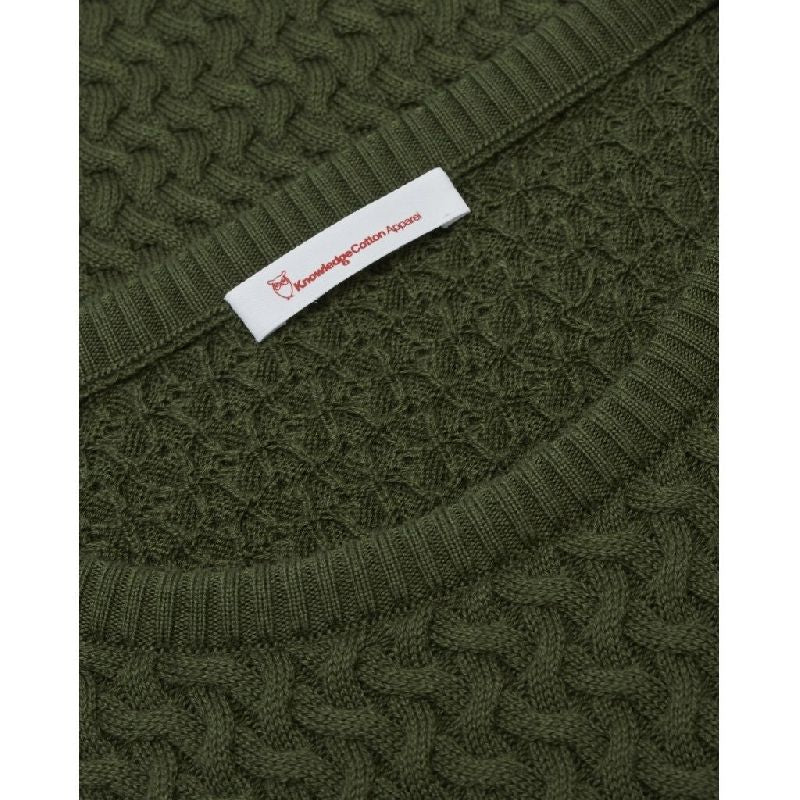 Field O-Neck Structured Knit Forrest Green Knowledge Cotton Apparel