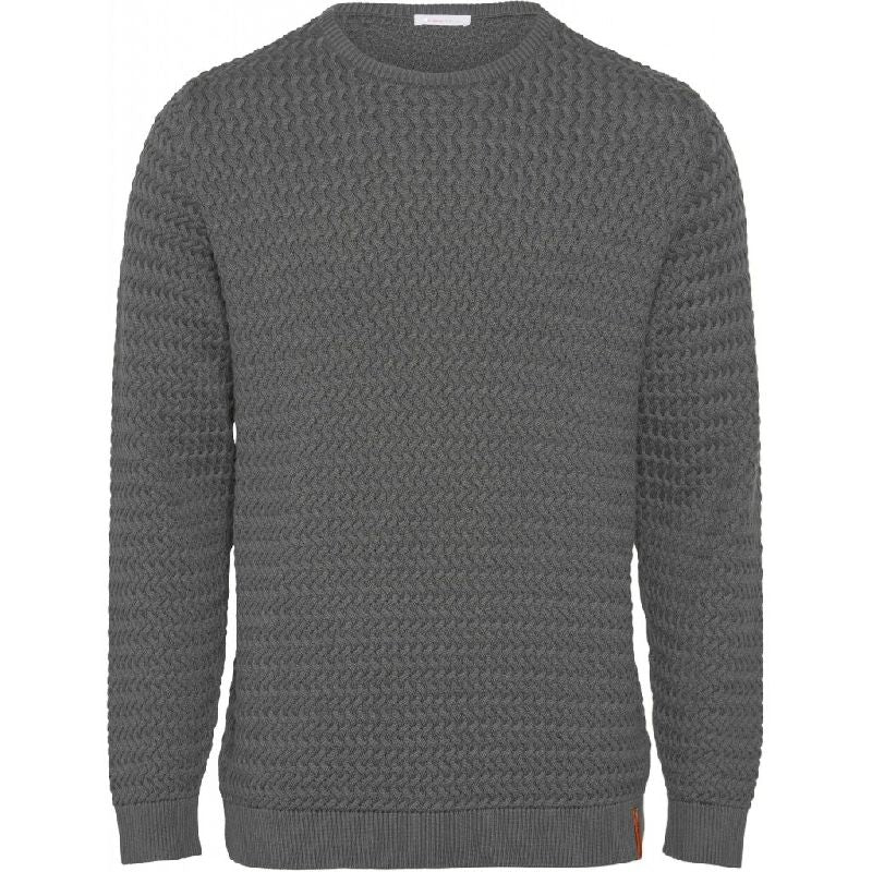 Field O-Neck Structured Knit Grey Knowledge Cotton Apparel