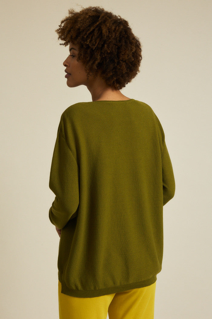 Boxy Olive Sweater Lanius