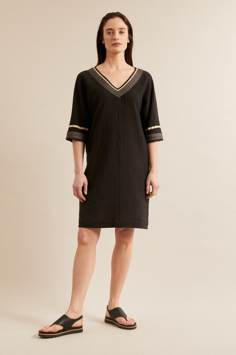 Black linen dress with embroidery Lanius